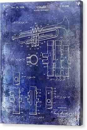 1939 Trumpet Patent Blue Canvas Print