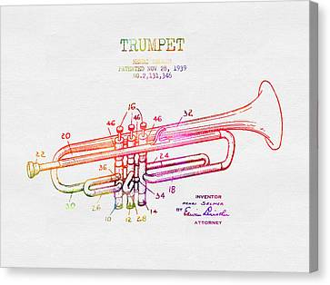 1939 Trumpet Patent - Color Canvas Print by Aged Pixel