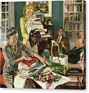 1940 Christmas Eve Family Wrapping Presents Canvas Print