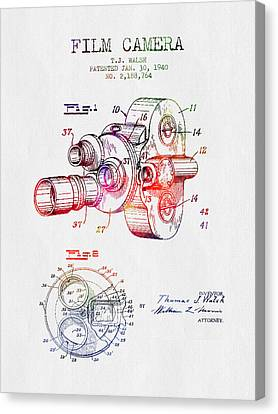 1940 Film Camera Patent - Color Canvas Print by Aged Pixel