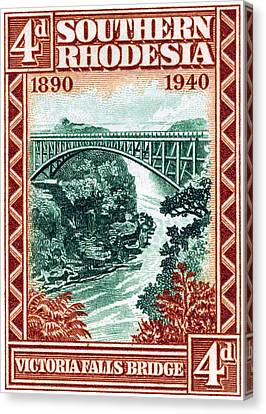 Canvas Print featuring the painting 1940 Southern Rhodesia Victoria Falls Bridge  by Historic Image