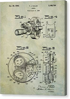 1940 Tj Walsh Film Camera Patent Canvas Print by Bill Cannon