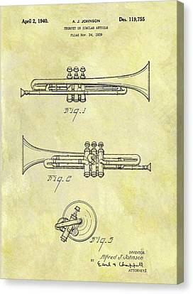 1940 Trumpet Patent Canvas Print by Dan Sproul
