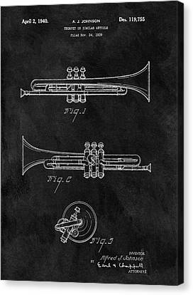 1940 Trumpet Patent Illustration Canvas Print by Dan Sproul
