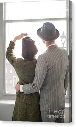 Canvas Print featuring the photograph 1940s Couple At The Window by Lee Avison