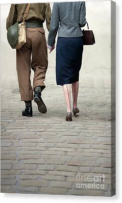 Canvas Print featuring the photograph 1940s Couple Soldier And Civilian Holding Hands by Lee Avison