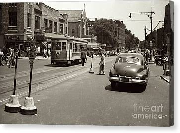 Canvas Print featuring the photograph 1940's Inwood Trolley by Cole Thompson