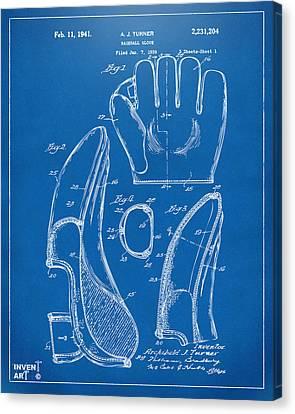 1941 Baseball Glove Patent - Blueprint Canvas Print by Nikki Marie Smith
