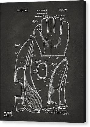 Gloves Canvas Print - 1941 Baseball Glove Patent - Gray by Nikki Marie Smith