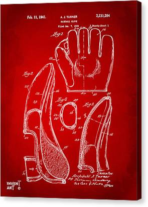 1941 Baseball Glove Patent - Red Canvas Print by Nikki Marie Smith