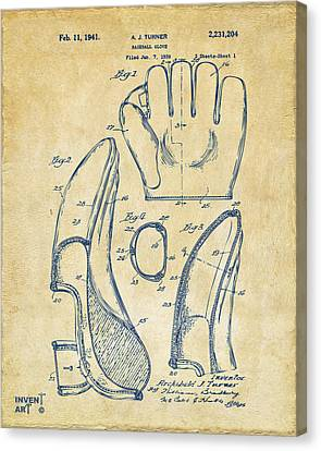 1941 Baseball Glove Patent - Vintage Canvas Print by Nikki Marie Smith