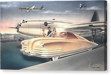 Plymouth Barracuda Canvas Print - 1941 Chrysler Styling Concept Rendering Gil Spear by ArtFindsUSA