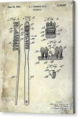 Dentist Canvas Print - 1941 Toothbrush Patent  by Jon Neidert