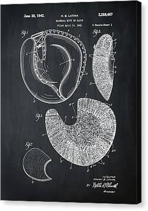 1942 Baseball Mitt Patent In Chalk Canvas Print by Bill Cannon