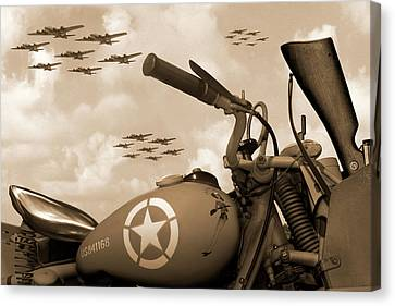 Canvas Print featuring the photograph 1942 Indian 841 - B-17 Flying Fortress - H by Mike McGlothlen
