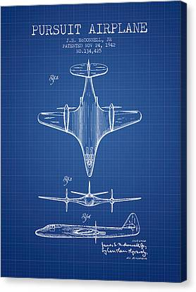 1942 Pursuit Airplane Patent - Blueprint 02 Canvas Print by Aged Pixel