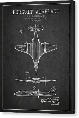1942 Pursuit Airplane Patent - Charcoal 02 Canvas Print by Aged Pixel