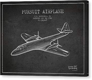1942 Pursuit Airplane Patent - Charcoal Canvas Print by Aged Pixel