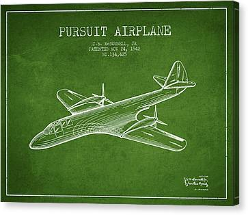 1942 Pursuit Airplane Patent - Green Canvas Print by Aged Pixel