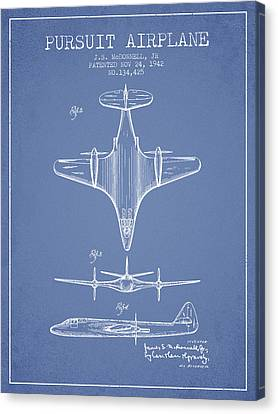 1942 Pursuit Airplane Patent - Light Blue 02 Canvas Print by Aged Pixel