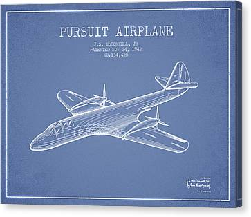 1942 Pursuit Airplane Patent - Light Blue Canvas Print by Aged Pixel