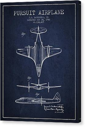 1942 Pursuit Airplane Patent - Navy Blue 02 Canvas Print by Aged Pixel