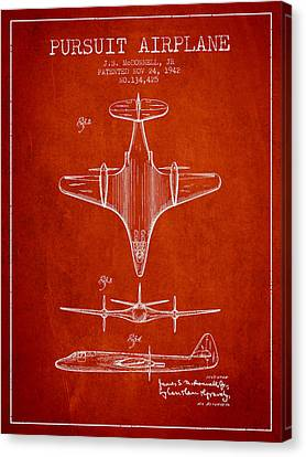 1942 Pursuit Airplane Patent - Red 02 Canvas Print by Aged Pixel