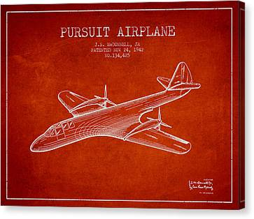 1942 Pursuit Airplane Patent - Red Canvas Print by Aged Pixel