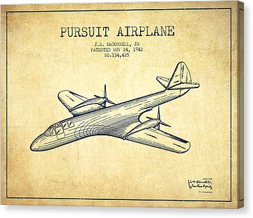 1942 Pursuit Airplane Patent - Vintage Canvas Print by Aged Pixel