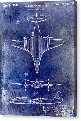 Vintage Airplane Canvas Print - 1942 Pursuit Airplane Patent by Jon Neidert