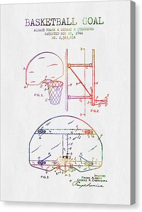 1944 Basketball Goal Patent - Color Canvas Print by Aged Pixel