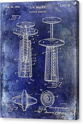 Red Wine Canvas Print - 1944 Corkscrew Patent  Blue by Jon Neidert