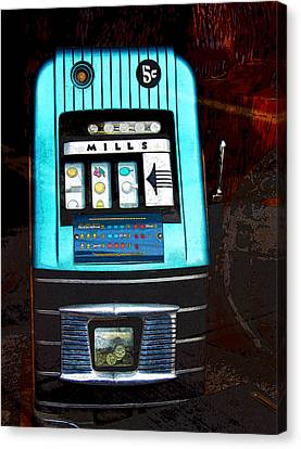 1945 Mills High Top 5 Cent Nickel Slot Machine Canvas Print by Karon Melillo DeVega