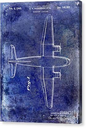 Stearman Canvas Print - 1945 Transport Airplane Patent Blue by Jon Neidert