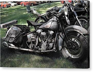 Canvas Print featuring the photograph 1946 Harley Davidson by Kae Cheatham
