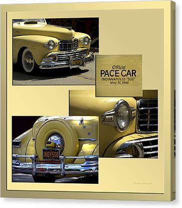 1946 Indy 500 Pace Car Collage Canvas Print by Thomas Woolworth