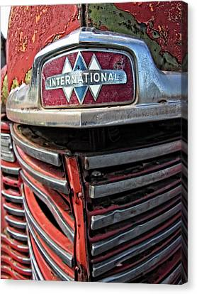 Old American Truck Canvas Print - 1946 International Harvester Truck Grill by Daniel Hagerman