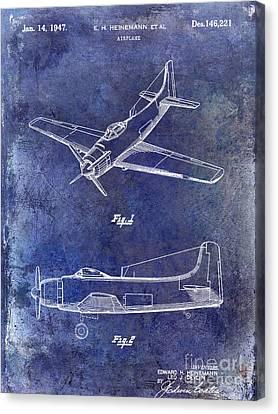 1947 Airplane Patent Blue Canvas Print by Jon Neidert