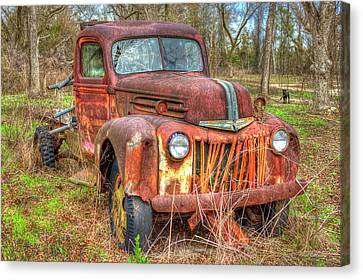1947 Ford Truck And Friend Canvas Print by Reid Callaway