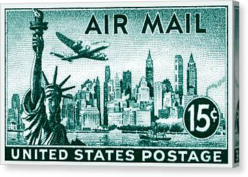 1947 New York Air Mail Stamp Canvas Print by Historic Image