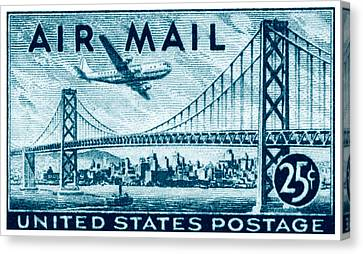 1947 San Francisco Air Mail Stamp Canvas Print by Historic Image