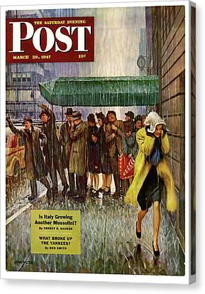 1947 Saturday Evening Post Magazine Cover Canvas Print