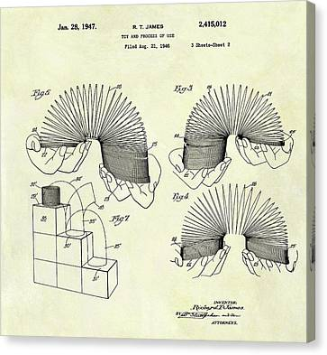 1947 Slinky Patent Canvas Print by Dan Sproul