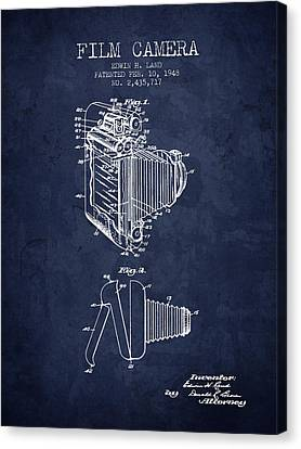 1948 Film Camera Patent - Navy Blue - Nb Canvas Print by Aged Pixel