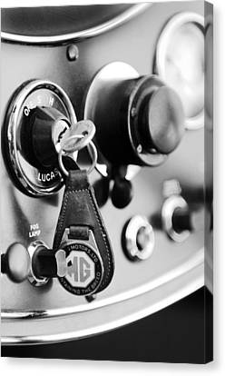 1948 Mg Tc Key Ring Black And White Canvas Print by Jill Reger