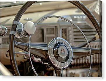 1948 Plymouth Deluxe Steering Wheel Canvas Print by Jill Reger