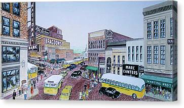 1948 Rush Hour Portsmouth Ohio Canvas Print by Frank Hunter