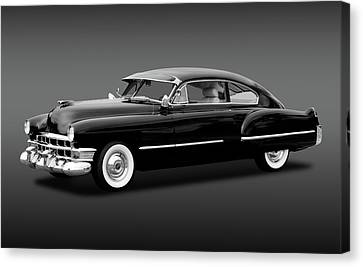 Canvas Print featuring the photograph 1949 Cadillac Two Door Sedan  -  49cadillacsedanbw172173 by Frank J Benz