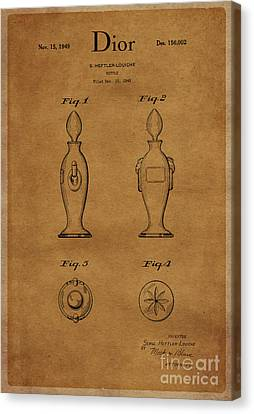 1949 Dior Perfume Bottle Design 1 Canvas Print by Nishanth Gopinathan