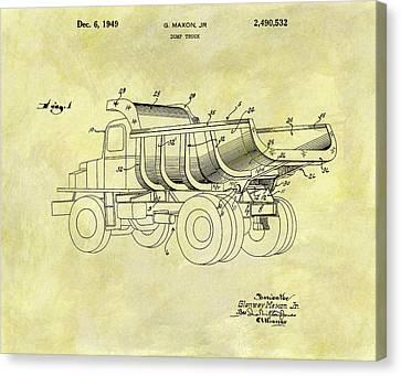 1949 Dump Truck Patent Design Canvas Print